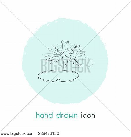 Water Lily Icon Line Element. Vector Illustration Of Water Lily Icon Line Isolated On Clean Backgrou