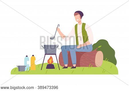 Man Camper Sitting On Log At Campsite And Boiling Soup In Caldron Vector Illustration
