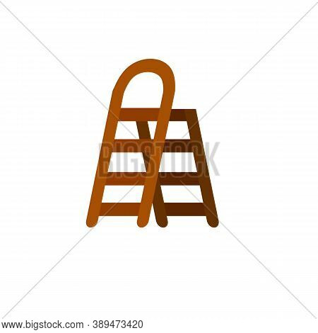Stairs. Wooden Ladder. Simple Stairway For Climbing Up. Rural Tool With Steps. Flat Illustration Iso