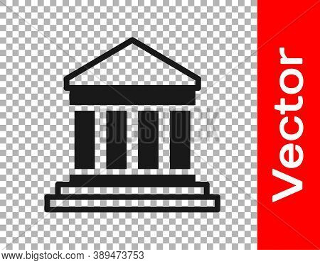 Black Parthenon From Athens, Acropolis, Greece Icon Isolated On Transparent Background. Greek Ancien
