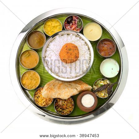 Typical south Indian Thali served in marriages