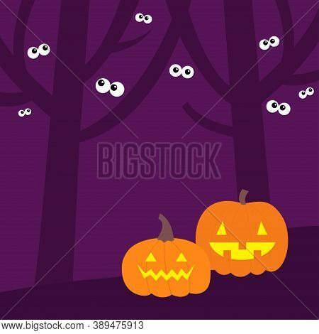 Happy Halloween. Scary Tree Forest Scene Landscape. Pumpkin Set. Ghost Spirit Eyes Eyeballs Looking
