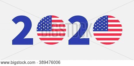 2020 Blue Red Text. Vote President Election Day. Badge Button Icon With American Flag Star And Strip