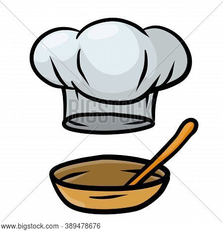 Chef Hat And Dish. Wooden Spoon And Plate. Cook White Clothes. Element Of The Restaurant And Cafe Lo