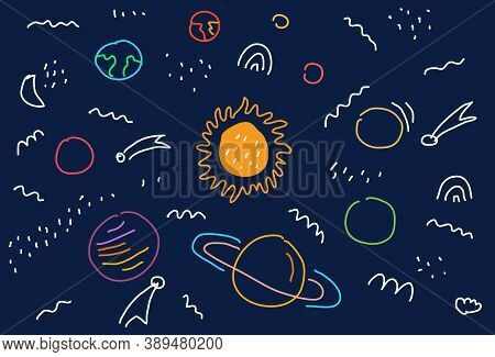 Space Flat Vector Background With Planets, Moon, Jupiter, Satellite And Stars.  Hand Drawing Cartoon