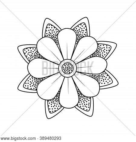 Flower With Leaves Old School Traditional Classic Tattoo. Hand Drawn Black Outline Doodle Logo Icon.