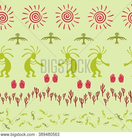 Native American Indian Vector Ethnic Tribal Motifs Seamless Pattern. Traditional Design With Dancing