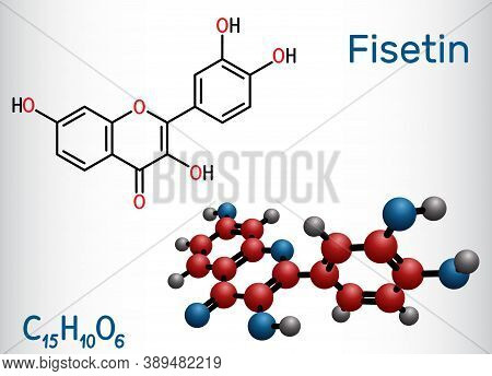 Fisetin Molecule. It Is Plant Flavonol From The Flavonoid Group Of Polyphenols. Structural Chemical