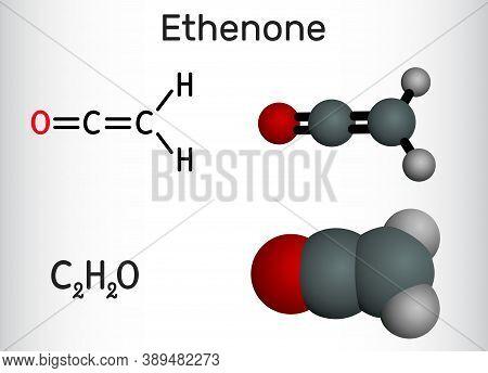 Ethenone, Ketene, C₂h₂o Molecule. Structural Chemical Formula And Molecule Model. Vector Illustratio