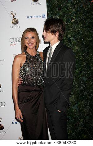 LOS ANGELES - SEP 21:  Brenda Strong, Zak Henri arrives at the Primetime Emmys Performers Nominee Reception at Spectra by Wolfgang Puck on September 21, 2012 in Los Angeles, CA