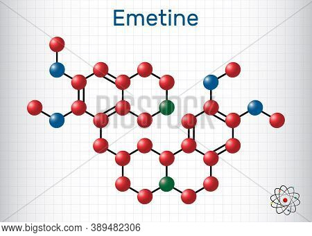 Emetine Molecule. It Is An Antiprotozoal Agent And Emetic. Structural Chemical Formula And Molecule