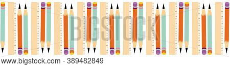 Sets Of Pencils With Eraser Tops And Rulers Vector Border On A White Background. Seamless Repeat Ban