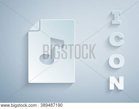 Paper Cut Music Book With Note Icon Isolated On Grey Background. Music Sheet With Note Stave. Notebo