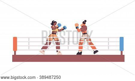 Mix Race Boxers Fighting On Ring Arena Dangerous Sport Competition Training Concept Two Women Boxing