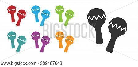 Black Maracas Icon Isolated On White Background. Music Maracas Instrument Mexico. Set Icons Colorful