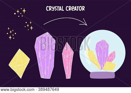 Crystal Set. Crystal Creator Crystalline Stone Or Gem. Magic Hand Drawn Crystals And Stars Textures
