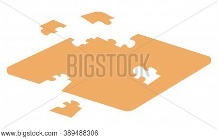 Isometric 3d Isolated Puzzle At White Background. Logic Game. Jigsaw Puzzle For Brain. Pieces Of Puz