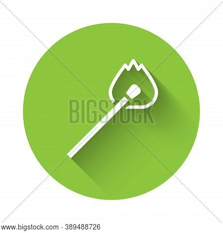 White Burning Match With Fire Icon Isolated With Long Shadow. Match With Fire. Matches Sign. Green C