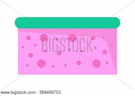 Pink Porous Wisp Of Bast With Bubbles. Bathroom Sponge Icon. Cleaning Tool Or Equipment. Wisp Of Bas