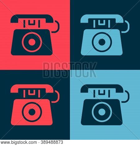 Pop Art Telephone With Emergency Call 911 Icon Isolated On Color Background. Police, Ambulance, Fire