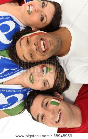 A group of people supporting the Italian football team