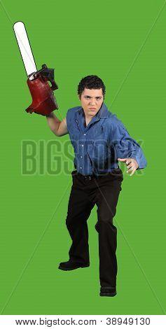 Chainsaw Stalker Threatens His Prey