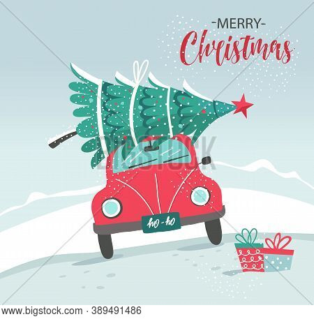Vector Picture With Red Car And Christmas Tree. Christmas Picture. Red Pickup. New Year Illustration