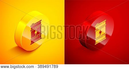 Isometric Bio Fuel Barrel Icon Isolated On Orange And Red Background. Eco Bio And Canister. Green En