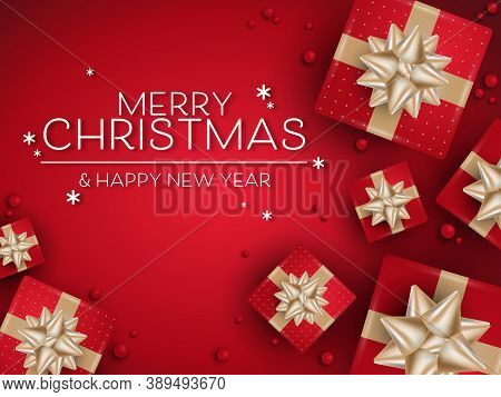 Vector Christmas Holidays Greeting Banner Of Realistic Red Color Gift Boxes With Gold Ribbons And Ti
