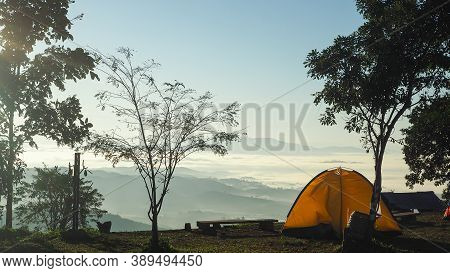 Yellow Tents For Camping With Nature Background. Morning Foggy Feeling Freshness, Freedom And Get Ne
