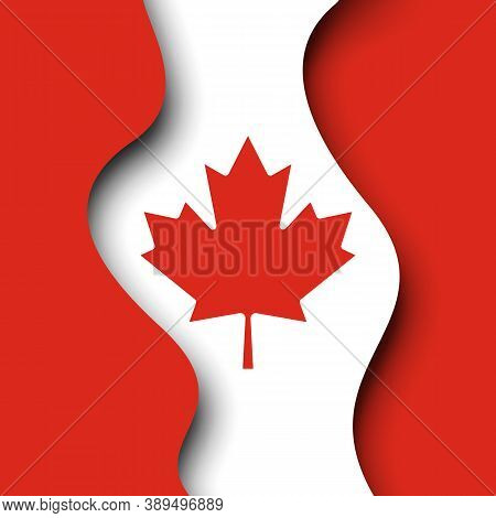 Abstract Waving Flag Of Canada. Creative Background For Design Of Poster Canadian Patriotic Holiday.