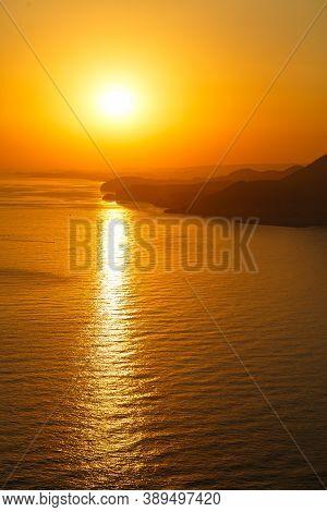 Beautiful Sunset Ocean Horizon Landscape. Sunset Horizon Sea View. Sea Sunset View