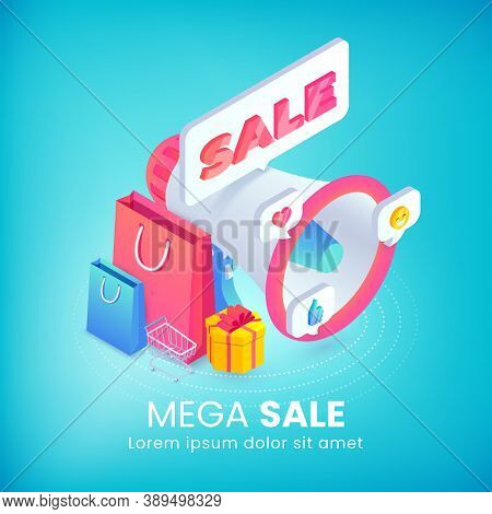 Mega Sale Isometric Advertising Banner Concept With 3d Bullhorn, Promotion Sale Sticker, Shopping Ba