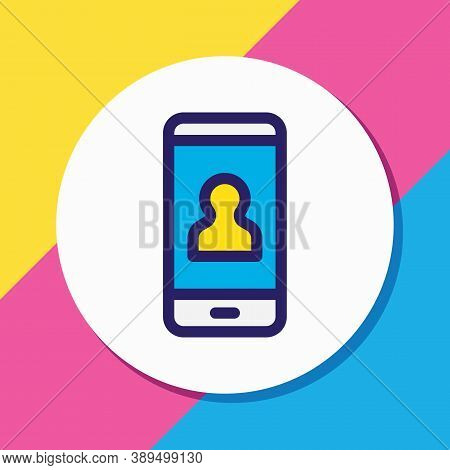 Vector Illustration Of User Icon Colored Line. Beautiful Phone Element Also Can Be Used As Account I