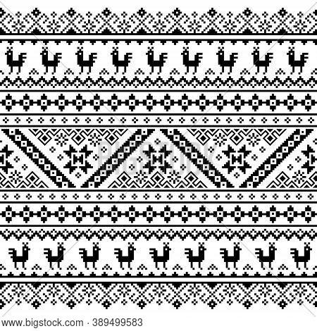 Ukrainian, Belarusian Folk Art Vector Seamless Pattern, Black And White Design Inspired By Tradition