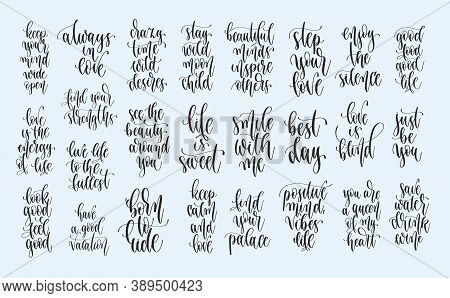 Set Of 25 Hand Lettering Positive Quotes Design, Motivation And Inspiration Phrases