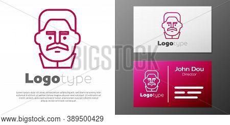 Logotype Line Portrait Of Joseph Stalin Icon Isolated On White Background. Logo Design Template Elem