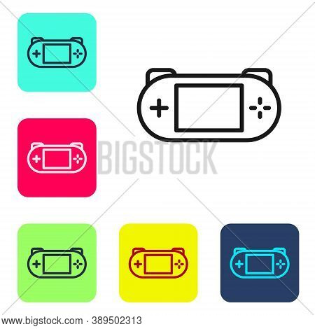 Black Line Portable Video Game Console Icon Isolated On White Background. Gamepad Sign. Gaming Conce