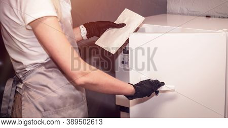 Equipment For Sterile Cleaning Of Working Manicure Tool. The Process Is Carried Out By A Nurse In A