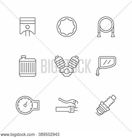 Set Line Icons Of Motorcycle Parts Isolated On White. Piston, Clutch, Radiator, Motor Or Engine, Mir