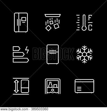 Set Line Icons Of Fridge, Refrigerator, Icebox Isolated On Black. Temperature, Energy Class, Applian