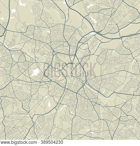 Detailed Map Of Birmingham City Administrative Area. Royalty Free Vector Illustration. Cityscape Pan