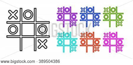 Black Line Tic Tac Toe Game Icon Isolated On White Background. Set Icons Colorful. Vector