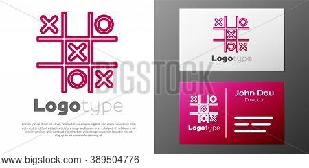 Logotype Line Tic Tac Toe Game Icon Isolated On White Background. Logo Design Template Element. Vect