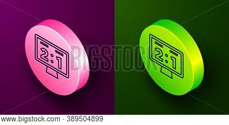 Isometric Line Sport Mechanical Scoreboard And Result Display Icon Isolated On Purple And Green Back