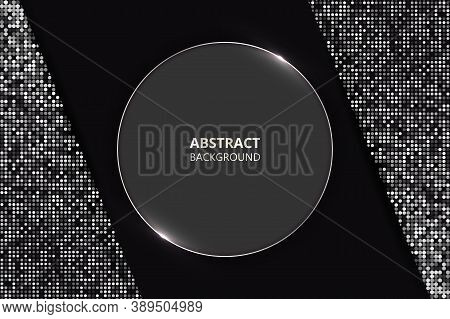 Modern Trendy Luxury Background. Geometric Shapes Textured By Luminous Dots. Gray Luminous Circle In