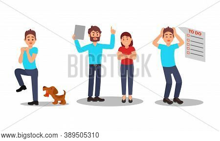 People Characters With Fear Of Dog And Multitasking Vector Illustration Set