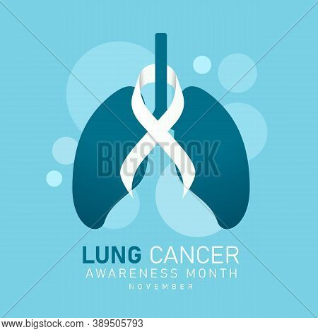 Lung Cancer Awareness Month November Banner With White Ribbon Around Lung Sign On Blue Background