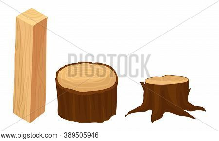 Stub And Sided Timber As Material For Carpentry Vector Set