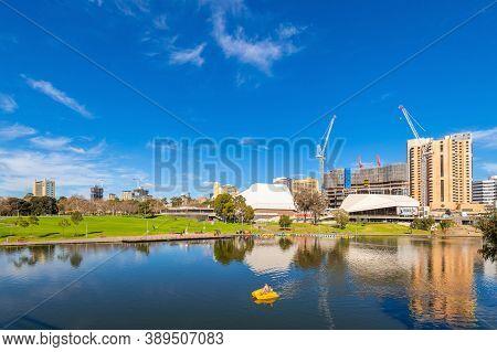 Adelaide, Australia - August 4, 2019: Adelaide City Business  Centre Skyline Viewed Across Riverbank